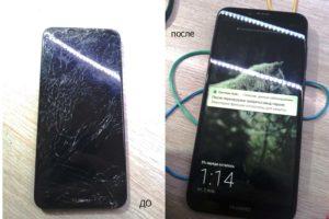 Huawei Y6 Prime 2018 до и после замены модуля экрана