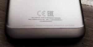 J330 Samsung (J3 2017) маркировка модели на задней крышке устройства