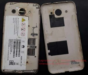 Huawei Y3 2017 (CRO-L22) вид при открытии задней крышки