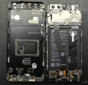 Huawei P10 (VTR-L29) вид на внутреннюю часть смартфона после снятия задней крышки