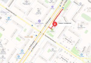 карта как пройти в ремонт телефонов на Рябикова 37 ( сервисный центр Leprostars)