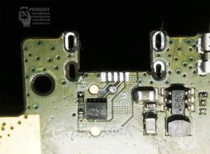 Lenovo S6000-H вид на монтажную площадку разъёма после снятия старого разъёма. Подготовка посадочного места