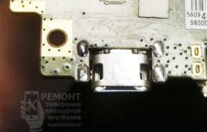 Lenovo S6000-H новый разъём, после спайки шва как будто нет.