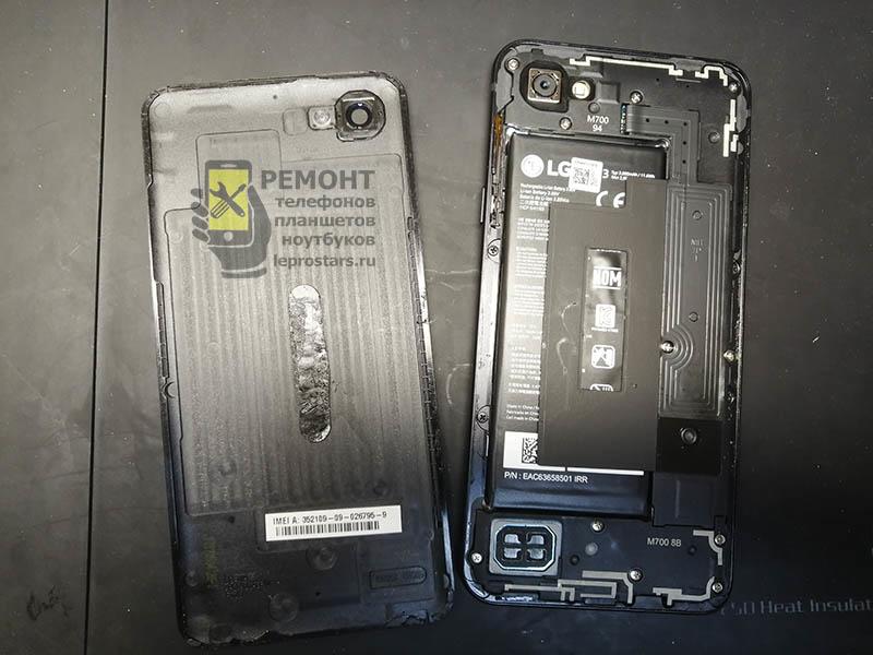 LG Q6 (m700) для разборки устройства нужно отклеить заднюю крышку, она приклеена на двухсторонний скотч.