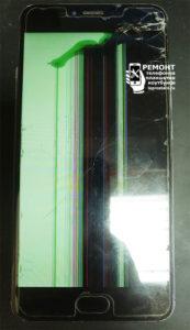 Meizu M3 Note (l681h) экран устройства разбит, вид с лицевой стороны.