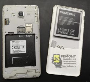 Samsung g531 вид после снятия задней крышки